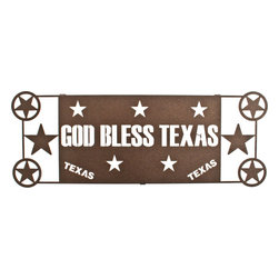 Lazart - God Bless Texas 17-inch Western Metal Wall Art Star - If  you  love  Texas,  you'll  love  this  western  metal  wall  art  loaded  with  stars  and  a  special  prayer  for  all  of  Texas.  Finished  in  a  dark  espresso  brown,  this  precision  laser  cut  metal  art  is  perfect  for  country  cabin,  front  porch,  or  entry  hall.  Makes  a  great  gift  for  Texan  friends  and  relatives  or  your  favorite  cowboy  or  cowgirl.  A  wonderful  way  to  celebrate  your  Texas  connections  and  western  flare.                See  more  western  metal  art  or  entertainment  metal  art.                  Measures  17  1/2  inches  wide  by  6  1/2  inches  high              Precision  cut  lone  star  design  made  from  cold  rolled  steel              Dark  espresso  brown  heat  transfer  finish              Made  in  the  USA,  Ships  in  about  5  days
