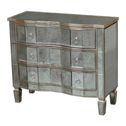 Sterling Industries - Sterling Industries 6043629 Torino Chest - Curved Drawer Fronts Highlight The Hand Cut Antiqued Mirrored Panels And Increase Light Reflection And Detailing. Stylish Slim Ringed Handles And Soft Gold Frame Make This A Useful And Stylish Accent For Any Setting.  Chest (1)