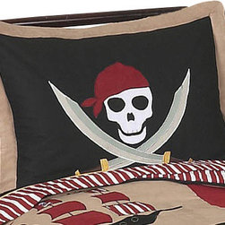 Sweet Jojo Designs - Pirate Treasure Cove Pillow Sham - The Pirate Treasure Cove standard pillow sham is created exclusively to coordinate with the Sweet jojo designs, matching bedding set. This pillow sham is a quick and easy way to complete the look and theme in your child's bedroom. Machine washable. Fits all standard sized pillows. Dimensions: 20in. x 26in.