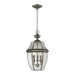 Elk Cornerstone - Three Light Clear Beveled Glass Antique Nickel Hanging Lantern - Three Light Clear Beveled Glass Antique Nickel Hanging Lantern