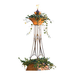 H Potter - Multilevel Planter Torch - Liven up your outdoor space with this extraordinary planter. An attention-getting torch shines bright at the pinnacle of the tiered tower, highlighting your plants and flowers as they pour out of the top level.