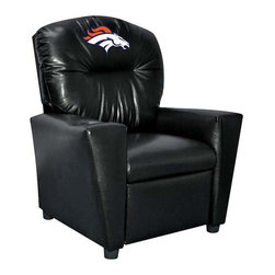 Imperial International - Denver Broncos NFL Faux Leather Tween Recliner - Check out this awesome Tween Recliner - it's the perfect size for those Tween years. Now the whole family can join in and watch the game in their favorite chair! It has a great contemporary design with black faux leather all over, and a cup holder. The team logo is embroidered and sewn on the headrest. It's perfect for your Man Cave, Game Room, Garage or Basement.