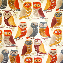 Owl fabric retro craftsman fall purple orange - An owl fabric. An owl fabric with a retro Craftsman style look. This is perfect for one doing an Arts and Crafts home. The coloring says Craftsman and fall.