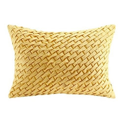 Harbor House - Set of 2 Meadow Yellow Basket Weave Oblong Pillows  14 x 20 - The Harbor House Meadow oblong pillow features a basket weave design on cotton faux linen. The solid yellow adds a pop of color to any room.  Body: 100% cotton faux linen fabric with handcraft; Filling: 100% polyester.