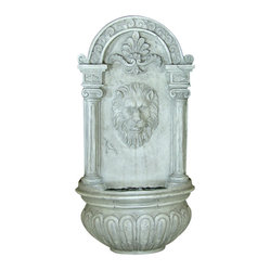 Classic Lion Solar On Demand Wall Fountain, Earth White Tone