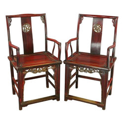 Pre-owned Antique Carved Chinese Official's Chairs - A Pair - A stunning Pair of Antique Chinese Armchairs Southern Official's Hat Armchairs Accent Chairs dating to 1900 in walnut with a red lacquer finish from the Shanxi Province with carved dragons in a circle on the back splat.    Seat Height 21H .    Overall Condition is Restored. Shows normal wear to the red lacquered finish, especially on the stretchers, due to age and use. In order to ensure structural stability, the pieces were disassembled and reassembled to strengthen the joints. This has allowed them to be fully functional for years to come. Both chairs were also clear coat refinished and the trim pieces in the corner were replaced, since they had gone missing over the years.