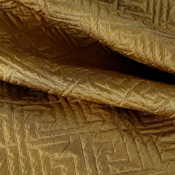 Matelasse Greek Key Upholstery in Gold - Matelasse Greek Key 100% Silk Upholstery Fabric in Gold. Geometric Print ideal for reupholstering sofa, chairs, and other furniture, or accent pillows.