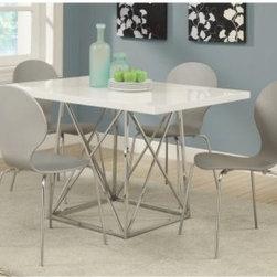 Monarch Glossy White 5 Piece Modern Dining Set with Grey Bentwood Stools - Enjoy a cozy, intimate dinner setting with the modern-minded Monarch Glossy White 5 Piece Modern Dining Set with Grey Bentwood Stools. This contemporary set is great for this smaller spaces. The table features a sturdy metal base and a wood top with a glossy white finish, while the four grey metal-based chairs with bentwood seats match perfectly.About Monarch SpecialtiesWilbur Berger established Monarch Glass in 1950 on Rachel Street in Montreal, providing quality custom mirror and glasswork for both retail stores and the home. Understanding that there was more business with glass, Monarch started manufacturing and then diversified to importing mirrors and frames. Currently, the company is centered in Quebec, where it is a leader among furniture importers and distributors, focusing on fashion forward designs and impeccable customer service.