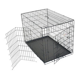 """Majestic Pet Products - 24"""" Single Door Folding Dog Crate -Small - Titan brand 24"""" Single Door Dog Crate by Majestic Pet Products is perfect for crate training your dog while staying well ventilated and easy to clean. Made of wire with a durable black electro-coat finish. Unfolds for easy assembly. Folds for easy storage or portability. The front door with sliding bolt latches allow for convenient, secure, and easy access. Comes with a crate training guide, carry handle, and a removable easy-to-clean plastic pan. For proper sizing, determine your dogs potential full grown adult size, then choose a crate that will be 4"""" inches taller than the top of your dogs head and 4"""" inches longer than your dog from nose to tail. The divider panel is included to adjust the crate's living area to your puppies growth."""