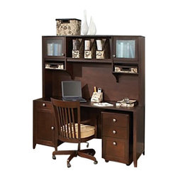 "Kathy Ireland Office by Bush Furniture - Kathy Ireland Office by Bush Furniture Grand Expressions Home Office Set in Warm - Kathy Ireland Office by Bush Furniture - Office Sets - AMA003WM - The kathy Ireland Office by Bush Furniture Home Office Suite is the ultimate in American style and functionality. The suite includes a 66"" desk, with wire management features and your choice of pedestals. Pick either two large filing drawers, or one filing drawer plus two box drawers for office supplies. The matching 66"" hutch features plenty of overhead storage so you'll always stay neat and organized. All pieces are finished in warm molasses finish with antiqued pewter hardware and loaded with safety features, including a tip kit for the hutch, rounded corners and soft edges on all pieces, and soft-close hinges to prevent little fingers from getting pinched. Bush Furniture Quick-to-Assemble technology makes assembly three to five times faster."