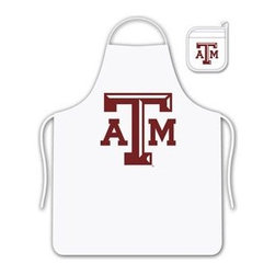 Sports Coverage - Texas A & M Tailgate Apron and Mitt Set - Set includes your favorite collegiate Texas A&M University screen printed logo apron and insulated cooking mitt. White apron with white silver backed mitt. Both items are logoed. Tailgate Kit apron and mit is 100% cotton twill with screenprinted logo.