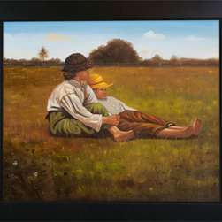 overstockArt.com - Homer - Boys in a Pasture Oil Painting - One of Winslow Homer's captivating interactions of kids relaxing, Boys in a Pasture , originally created in 1874, today it has been hand painted on canvas, color for color and detail for detail. An American landscape painter, best known for his marine subjects. He was largely self-taught and is considered one of the foremost painters in 19th century America. Enjoy his rich and beautiful imagery captured in a hand oil painting. This image is sure to gain admirers.