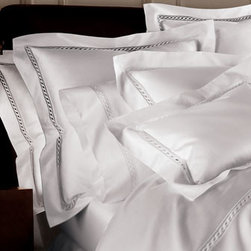 """SFERRA - SFERRA King Solid Sateen Fitted Sheet - Treat yourself to the indulgence of Egyptian cotton linens woven in Italy using 1,020 threads per square inch by Sferra. For all, select color when ordering. Machine wash. """"Solid Sateen"""" linens are accented with hemstitching. Three-panel gathered dust...."""