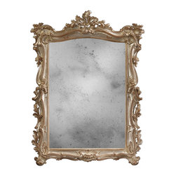 """Inviting Home - Venetian Style Mirror - 18th century Venetian style antiqued glass mirror with carved wood frame 39"""" x 52""""H hand-crafted in Italy 18th century Venetian style antiqued glass mirror with carved wood frame. Frame of this wall mirror is carved in deep relief with leaf and scroll design and finished and hand applied antiqued silver metal leaf. This mirror is hand-crafted in Italy."""