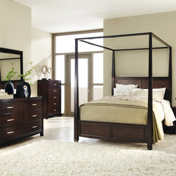 Coaster - Ingram 5Pc Queen Canopy Bedroom Set in Antique Brown Finish - Make your bed the focus of your bedroom with this dramatic canopy bed collection. Metal drawer pulls on each drawer add polish, while the drawers provide excellent storage for your clothing or bedroom accessories. Carved reeding detail on the headboard and footboard create an elegant silhouette, Case pieces have knock-down legs with metal drawer pulls. Grand in size and design, with an antique brown finish for a more inviting appearance, this dramatic canopy bed completes your bedroom with a welcoming and regal nature.