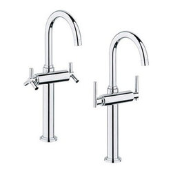 """GROHE - Grohe Atrio Deck-Mount Vessel Faucet - Starlight Chrome - Sleek and dramatic, the Grohe Atrio deck-mount vessel faucet makes a statement while at the same time provides you with Grohe's legendary German precision and long-lasting quality. Choose from two handle options. Featuring Grohe exclusive StarLight plating and SilkMove technology. Starting with their unique StarLight plating process, Grohe sub-plates layers of copper or nickel, depending on the surface, to ensure a flawless non-porous base for their dazzling chrome layer. StarLight ensures a luminous mirror-like sheen that is resistant to scratches and tarnishing for years of stunning, trouble-free use. Grohe's innovative SilkMove cartridges are fashioned from advanced ceramic alloys, then are coated with an exclusive Teflon lubricant, ensuring a lifetime of rich smooth faucet function and quiet, leak-free operation. Available in multiple finishes. For a custom look and feel without the custom price, choose Grohe.Features & Specs16 1/2"""" tall6"""" swivel spoutTwo handlesSolid brass bodyStainless steel braided supply hosesSingle hole installationGROHE SilkMove ceramic cartridgesSold less handlesShown with both Spoke handles (18026) and Lever handles (18027) Flow Rate 2.2 gpm at 60 psi, 2.5 gpm at 80 psi View Spec Sheet"""