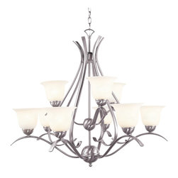 Trans Globe Lighting - Trans Globe Lighting ES Ribbon Branched Transitional Chandelier X-NB 9829-LP - The Trans Globe Lighting ES Ribbon Branched Transitional chandelier features an intricate and sophisticated design. The confident frame gets a brilliant brushed nickel or rubbed oil bronze finish, and the look is complete with marbleized glass. The nine-light fixture displays beauty and elegance suitable for a formal and refined setting.