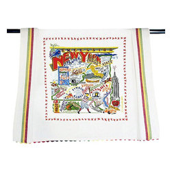 CATSTUDIO - New York State Dish Towel by Catstudio - This original design celebrates the state of New York from Niagara Falls to the Adirondacks down the beautiful Hudson Valley to Woodstock and over to the Finger Lakes.  This design is silk screened, then framed with a hand embroidered border on a 100% cotton dish towel/ hand towel/ guest towel/ bar towel. Three stripes down both sides and hand dyed rick-rack at the top and bottom add a charming vintage touch. Delightfully presented in a reusable organdy pouch. Machine wash and dry.