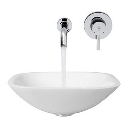 Vigo Industries - Square Vessel Sink and Faucet - Phoenix Stone is a revolutionary new blend of crystallized glass and stone resulting in a highly durable complex material.