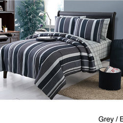 None - Janson 11-piece Dorm Room in a Bag with Sheet Set - Ideal for any dorm room, this grey room in a bag comes complete with everything you need to coordinate your entire living space. The bold, vertical striped pattern is done in varying shades of grey and dusty blue for a handsome look.