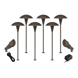 """John Timberland - Transitional Mushroom Bronze 10-Piece Outdoor LED Landscape Lighting Set - Give your front or backyard stylish accent lighting with this complete landscape lighting set. This kit includes six low-voltage LED path lights with a mushroom shaped shade a bronze finish and aluminum construction. Two bronze spotlights offer directional lighting for added convenience. A 45-watt low voltage transformer is included which features a built-in photocell for dusk to dawn operation. A black landscape wire completes the kit so you can connect your lights bringing this set together for a spectacular look. Works with existing low voltage landscape lighting systems.  Complete landscape lighting kit.  6 LED path lights 2 spotlights one free 45-watt low voltage transformer free cable.  Path and spotlights include a 3 watt LED.  Each comparable to a 25 watt incandescent bulb.  Free 45 watt transformer.  Full ON mode or three AUTO settings (4 6 and 8 hours).  Built-in photo-cell for dusk to dawn operation.  Free 50 feet of cable.  Path lights are 18"""" high 7"""" wide.  Spotlights are 7 1/2"""" high 3"""" wide."""