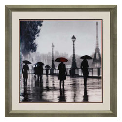 Paragon - Paris Red Umbrella - Framed Art - Each product is custom made upon order so there might be small variations from the picture displayed. No two pieces are exactly alike.