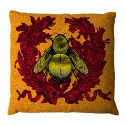 ecofirstart - Empire Bee Cushion - For a saucy, modern take on history, this nod to the Napoleonic Empire is the pillow for History buffs and design lovers alike. The regal wreath is available in a variety of colors, all against the sumptuous golden honey color of the bee.