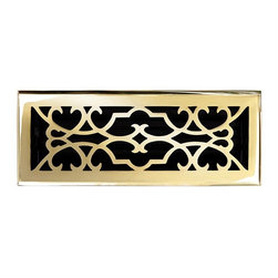 """Brass Elegans 120E PLB Brass Decorative Floor Register Vent Cover - Victorian Sc - This polished brass finish solid brass floor register heat vent cover with a victorian scroll design fits 4"""" x 12"""" x 2"""" duct openings and adds the perfect accent to your home decor."""