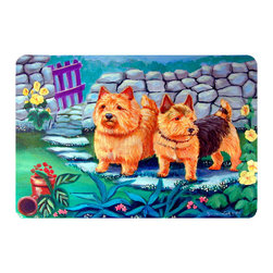 Caroline's Treasures - Norwich Terrier Kitchen Or Bath Mat 20X30 - Kitchen or Bath COMFORT FLOOR MAT This mat is 20 inch by 30 inch.  Comfort Mat / Carpet / Rug that is Made and Printed in the USA. A foam cushion is attached to the bottom of the mat for comfort when standing. The mat has been permenantly dyed for moderate traffic. Durable and fade resistant. The back of the mat is rubber backed to keep the mat from slipping on a smooth floor. Use pressure and water from garden hose or power washer to clean the mat.  Vacuuming only with the hard wood floor setting, as to not pull up the knap of the felt.   Avoid soap or cleaner that produces suds when cleaning.  It will be difficult to get the suds out of the mat.