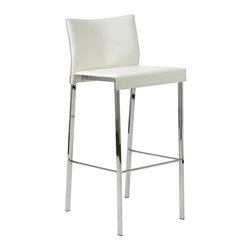 Euro Style - Rocco-B White Leather Barstool - Set of 2 - Set of 2. Regenerated white leather seat and back. Chromed steel legs. Seat height: 30 in.. 19 in. W x 17 in. D x 39 in. H (26.5 lbs.)Grand ideas for small spaces, the smooth and clean geometric shapes give your rooms a trendy, up-to-date look. The furniture design make your rooms stylish and sophisticated, symbolizing your self confidence.