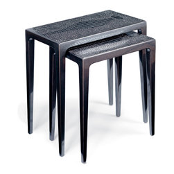 Kathy Kuo Home - Pair of Stallinga Industrial Wood Metallic Lacquer Croc Nesting End Tables - This set of nesting tables has raised the bar. Sleek, chic and sophisticated, they're a reason to abandon any preconceived notions you may have about industrial decor. Add these to your living space and you'll never think your room is ordinary again.