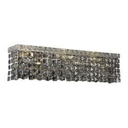 PWG Lighting - Chantal 6-Light Crystal Vanity Fixture 1729W26C-SS-RC - The unique design of the Chantal Collection inspires any room setting. Dazzling spectacles of light sparkles throughout the fixture creating a modern, yet timeless beauty and elegance.