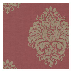 Kenneth James - Duchess Red Damask Wallpaper - This elegantly refined paper will put your walls on red alert. A regal damask print gives it the golden touch, for a look that will suit your traditional interiors perfectly.