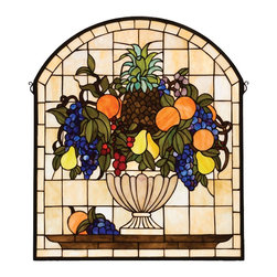 Meyda Tiffany - Meyda Tiffany 13297 Fruit Bowl Tiffany Window - A Cornerstone Beige background frames a bowl brimming with delectable Concord Blue and Purple grapes, oranges, Cerise cherries, Golden pears and an Amber Pineapple nestled in Garden Green leaves. This Meyda Tiffany window is handcrafted of stained art glass utilizing the copperfoil construction process and is encased in a solid brass frame. Mounting bracket and jack chain included.