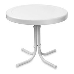 Crosley - Crosley Griffith Metal 20-Inch Side Table in White - Set down your glass of iced tea on this sturdy steel side table, designed to withstand the hottest of summer days and other harsh conditions.