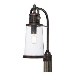 Quoizel - Quoizel SDN9008IB Steadman Outdoor Post Lantern - This fixture gives the exterior of your home both beauty and an industrial sense of design.  It features a vintage bulb for a historic look and is enhanced by the clear seedy glass.  The Imperial Bronze finish completes the look.