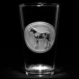 Crystal Imagery, Inc. - Horse Cowboy Western Glasses, Pub Glass, Engraved Pint Glass - Engraved horse pub glass, pint beer glass is a perfect gift idea for the horse lover, cowboy or cowgirl. Deeply carved using our sand carving technique, each of our custom pint or pub glasses are meticulously custom made to order making them the perfect gift for those seeking unique gift ideas for beer lovers - men and women alike. At 16 oz, our pub glass will hold plenty of your favorite beverage. A custom engraved pint or pub glass will be the favorite gift at any special gift giving occasion. Personalized or monogrammed pint or pub glasses are a unique and special bridal shower gift, engagement gift, wedding gift or engagement gift. Also great gift idea for girlfriend or wife gifts, boyfriend or husband gifts, retirement gift or birthday for the classy man or woman who has everything. Dishwasher safe. Made in the USA. SOLD AS A SET OF 4.