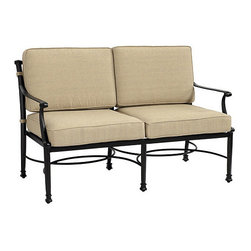 Ballard Designs - Amalfi Loveseat - Coordinates with our Amalfi Outdoor Collection. Basic tan cushions included. Sand black finish resists rust and chipping. Extremely strong, yet light enough for easy placement. Replacement cushions available. Requires 2 replacement cushion sets. Since each piece in the inviting Amalfi Collection is crafted of cast aluminum, the decoration can be more ornate and finely detailed. Seat features an intricate basket weave design with a rich 3-dimensional look. Seat back is beautifully scrolled on both sides, so you can enjoy the pattern from behind. And because cast aluminum is extremely strong and much lighter than it looks, pieces place easily and yet feel reassuringly sturdy. Amalfi Loveseat features: . . . . . Use of an outdoor furniture cover is recommended to extend the life of your piece.