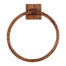 "Premier Copper Products - Premier Copper Products TR10DB Oil Rubbed Bronze  10"" Towel Ring Hand - This Premier 10"" Hand Hammered Full Size Copper Towel Ring will bring style and beauty to any bathroom in your home. Green Recyclable Products like Copper Sinks are a must have in today's modern home. This product is sure to impress your guests and satisfaction is always guaranteed. FEATURES:     * Configuration: Round Towel Ring with Square Mounting Plate    * Design: Hammered Copper Surface    * Color: Oil Rubbed Bronze    * Outer Dimension: 10"" x 10"" Ring Only    * Inner Dimension: 3"" x 3"" x .25"" Mounting Plate    * Installation Type: Wall Mount (2 screws)    * Note: This towel ring is made for Full Size Bath Towels    * Material Gauge: 18    * Hand Made    * 100% Recyclable    * Composition: 99.7% Pure Recycled Copper    * Lead Free ("
