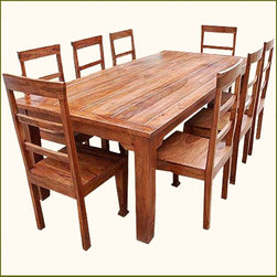 9 pc Solid Wood Rustic Contemporary Dinette Dining Room Table Chair Set Furnitur - Call your family and friends together because you will have the space they need with our new Rustic 9 pc Dining Table and Chair Set. Our artisans use the same time and care to create handmade furniture reminiscent of century old mountain craft. This dining room set comfortably seats 8 adults.