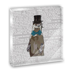 """Made on Terra - Dandy Otter Bowtie Top Hat Mini Desk Plaque and Paperweight - You glance over at your miniature acrylic plaque and your spirits are instantly lifted. It's just too cute! From it's petite size to the unique design, it's the perfect punctuation for your shelf or desk, depending on where you want to place it at that moment. At this moment, it's standing up on its own, but you know it also looks great flat on a desk as a paper weight. Choose from Made on Terra's many wonderful acrylic decorations. Measures approximately 4"""" width x 4"""" in length x 1/2"""" in depth. Made of acrylic. Artwork is printed on the back for a cool effect. Self-standing."""