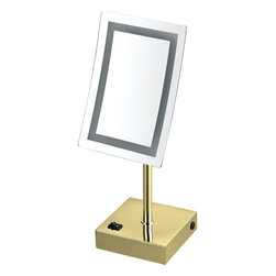 Nameek's - Chrome LED 3x Magnifying Mirror, Gold - With a single face, this 6.3 inch table mirror has a rectangular, contemporary style.
