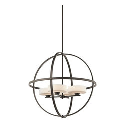 Kichler - Kichler Olsay Modern / Contemporary Chandelier - In an open orb frame, the satin etched cased opal glass shade is enclosed. The uniquely fascinating frame with olde bronze finish brings out the dynamic appeal of the room. The Kichler Lighting Olsay contemporary chandelier provides general lighting to the entryway, hallway or living area.