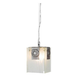 Varaluz - Varaluz 182M01 1 Light Mini Pendant Made Of Recycled Steel And Recyled Bottle Gl - Varaluz 182M01 Single Light Mini-Pendant Made Of Recycled Steel And Recyled Bottle Glass from the Polar CollectionPolar One Light Mini-pendant made of recycled steel and recyled bottle glass. Geosynchronous orbits and polar ice caps provide the inspiration (yes, we meant that seriously) for our popular ADA bath/wall collection. Frosty ice crystal patterns in the glass combine with minimalist metal work to inspirie awe.
