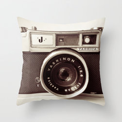 Camera Throw Pillow/Cover - I love the sepia tones in this camera print pillow. The monotone would look great on a colorful sofa or chair.