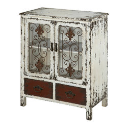 Powell - Powell Parcel White 2 Door and 2 Drawer Console - The Parcel collection combines an antique, weathered look with a rustic industrial feel. Its distressed look is trendy, popular and full of unique character. The layered antique white finished console features two doors and two drawers that provide an abundant amount of storage space. Decorative pulls accent the fronts of each drawer. A unique addition to any space in your home. Fully assembled.