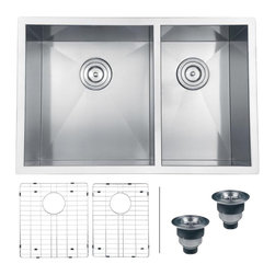 Ruvati - Ruvati RVH7200 Undermount Kitchen Sink - Sure to please any designer with an eye for purism, the Nesta series is defined by square Kitchen Sinks with sharp zero radius corners. The luxurious satin finish and heavy duty sound guard undercoating makes Nesta a perfect choice for your modern kitchen. Rear drain placement and elegant drain grooves add to the functionality of the sink.