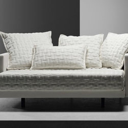 Molteni & C Oz Sofa Bed - This little cutie pie converts into a full-size bed! It's so nice and compact, and I love the oversize pillows. It has lots of modern zhazs!