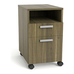 "Turnstone - Turnstone | Currency Open Mobile Pedestal - The Currency Open Mobile Pedestal offers open and closed, secure storage.  This mobile filing pedestal offers one box drawer, one file drawer, and and  open shelf space for storing office supplies, documents, books and paper. The utility drawer and file cabinet can be secrued with the integrated lock, while the open shelf offers a convenient spot for reems of paper or reference materials. The non-locking casters make this filing cabinet easy to move to any location necessary for an efficient workspace.Product Features:  Select from Handle pull or Ledge pull Full-extension, heavy-duty ball-bearring drawer suspensions for file drawer Box drawer has steel roller slides and opens up 0.75"" of their depth Black laminate interior Pencil tray Accommodate front-to-back or side-to-side of letter-size file folder frames Side-to-side legal-size hanging file folder frames Lock cyclinder in one of two finishes Non-locking casters in black"