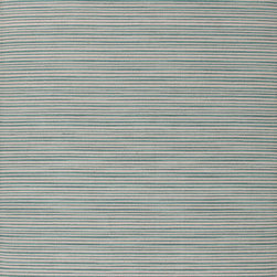 Jaipur Rugs - Flat Weave Stripe Pattern Blue Wool Handmade Rug - PV07, 5x8 - Bold color is the name of the game with Pura Vida. This beautiful collection of durable, reversible flat-woven dhurries combines the classic simplicity of linear patterns with a decidedly modern palette for a look that's at once casual and sophisticated.